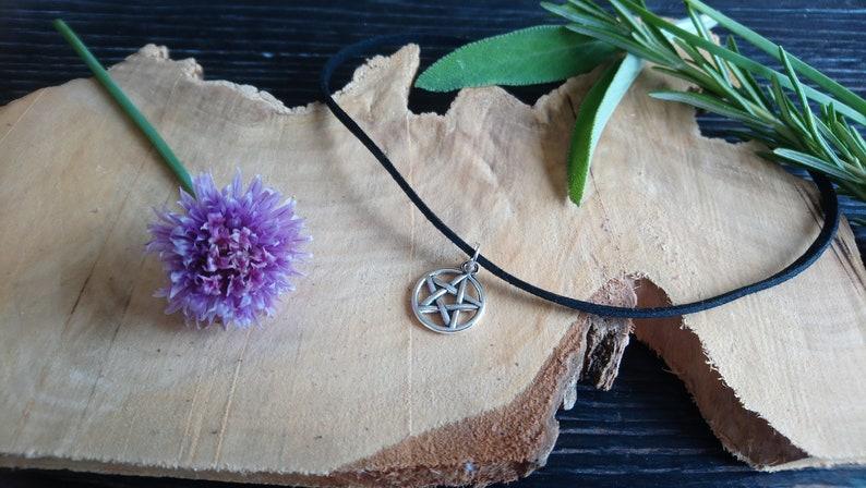 Beautiful black choker with Tibetan silver pentangle pentagram image 0