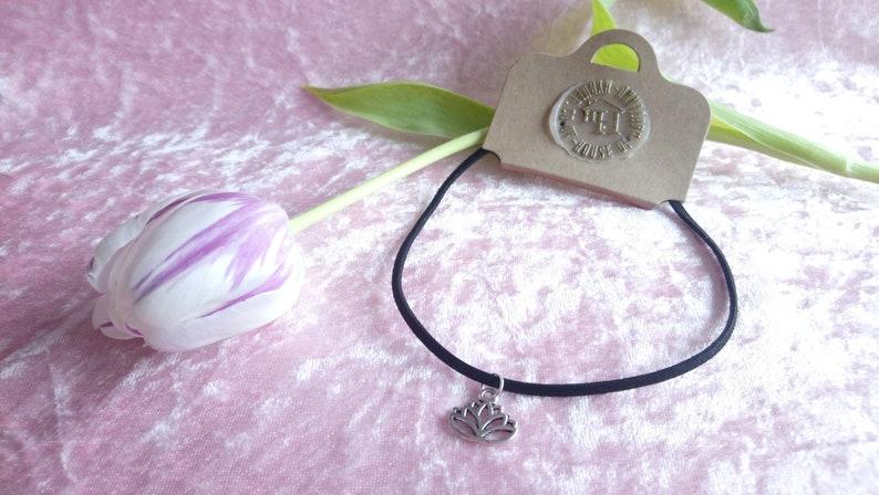 Beautiful black choker with Tibetan silver lotus flower charm image 0