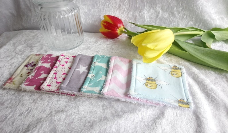 Handmade eco friendly cotton face pads pack of 8  7 designs image 0
