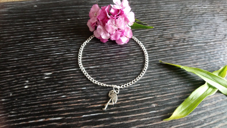 Beautiful silver plated flamingo charm anklet 9-11  image 0