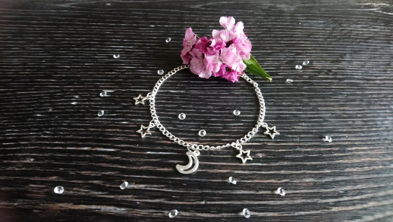 Beautiful silver plated moon and stars anklet 9-11  image 0