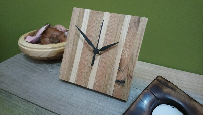 Rustic square reclaimed wood striped clock with black hands  image 0