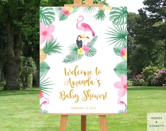 Flamingo Baby Shower, Greetings Sign, Flamingo Party Decorations, Lets Flamingle, Tropical Baby Shower Decorations, Baby Sprinkle Decor, PDF