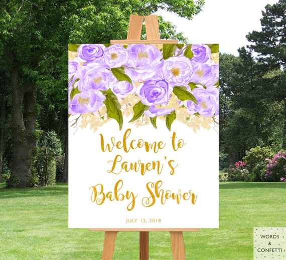 Baby Shower Decorations Girl Purple Girl Baby Shower Baby Etsy