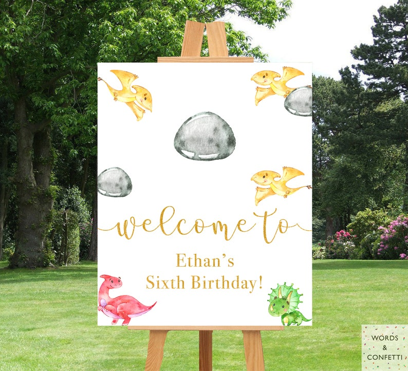 Dinosaur Birthday Decorations Party Boy Banner Personalized Sign Board Printable Supplies Ideas