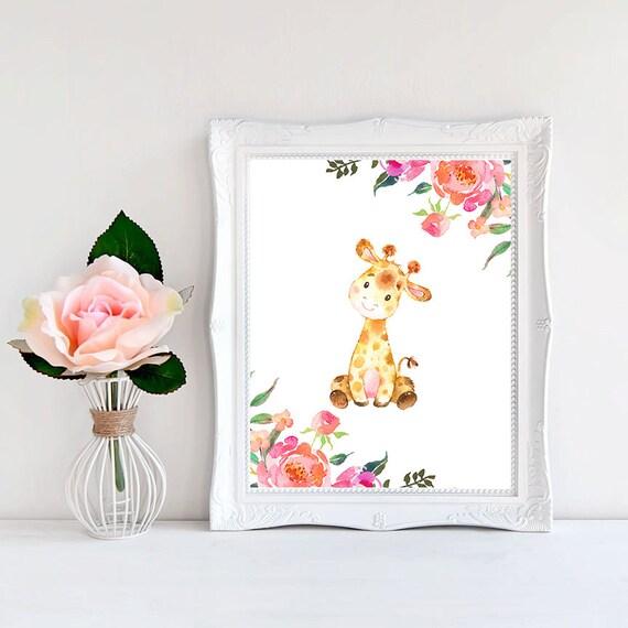 kinderzimmer giraffe kinderzimmer kunst baby m dchen etsy. Black Bedroom Furniture Sets. Home Design Ideas