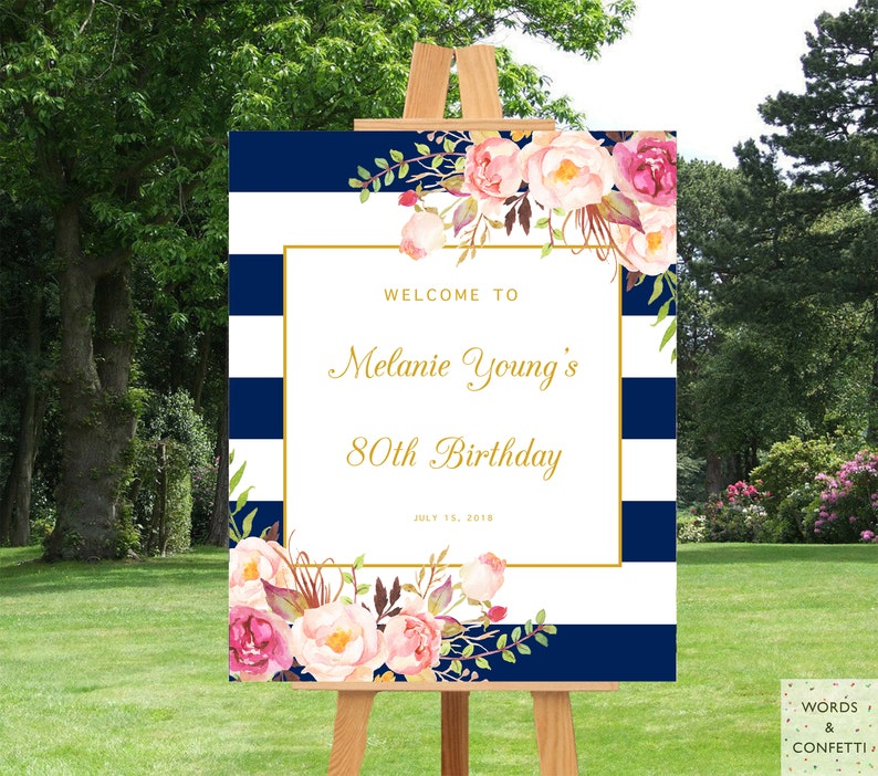 80th Birthday Decorations Poster Banner Grandma