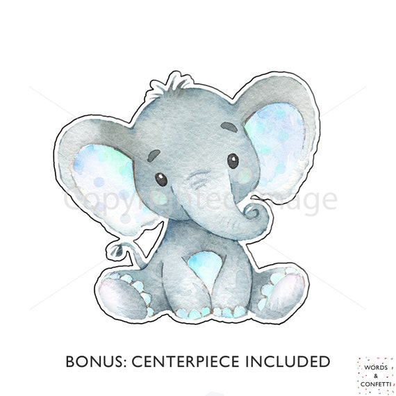 Blue Elephant Cake Toppers Baby Boy Shower Decorations Elephant Boy Baby Shower Centerpiece Boy Birthday Baby Elephant Printable