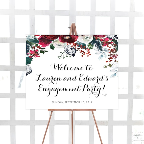 Christmas Engagement Party Backdrop,Holiday Party Backdrop,Personalized Christmas Party Decor,Christmas Engagement Banner,Festive Banner
