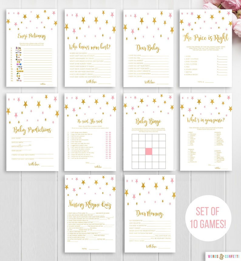 Twinkle Twinkle Little Star Baby Shower Games, Star Baby Shower Games,  Instant Download Games, Pink And Gold, Printable Baby Shower Game Set