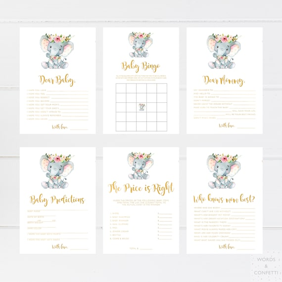 Baby Shower Games Elephant Baby Shower Games Printable Etsy