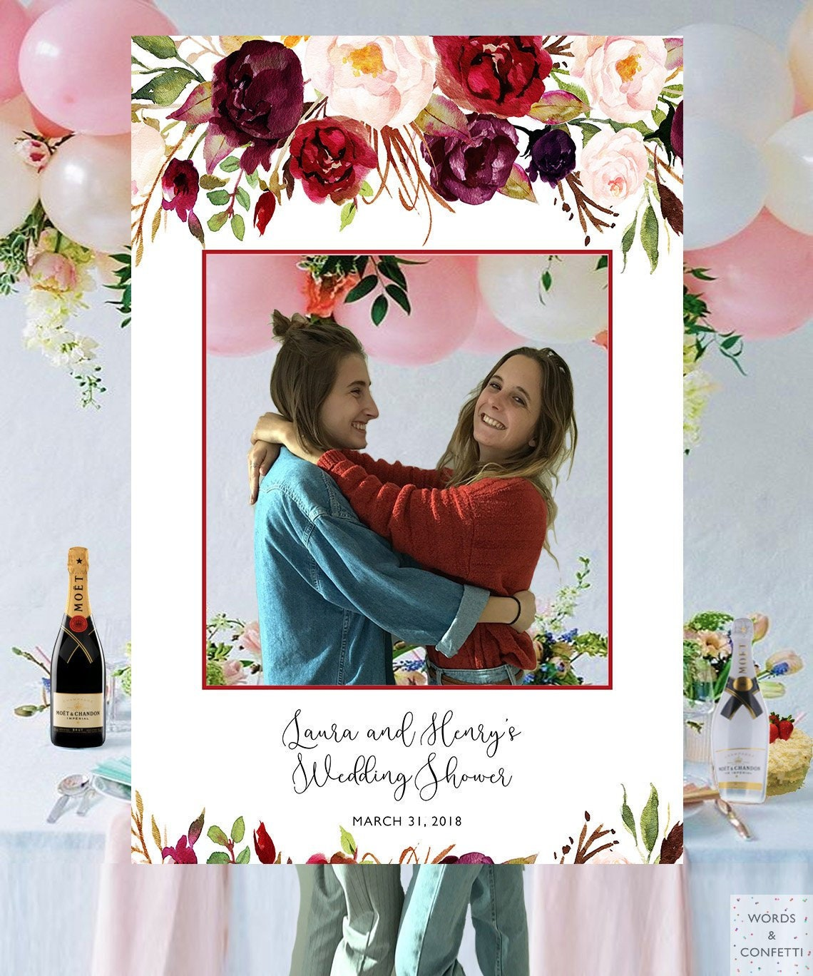 Wedding Shower Photo Prop Photo Booth Frame Photo Booth Etsy
