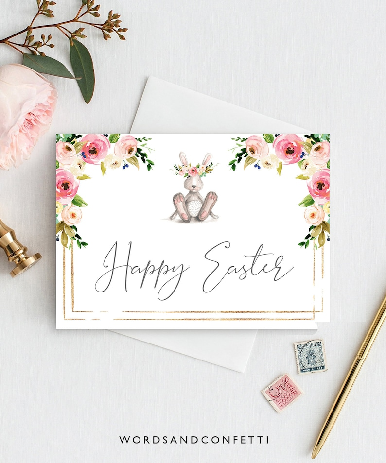 graphic relating to Easter Cards Printable titled Pleased Easter Card, Easter Playing cards Printable, Floral Easter Bunny, Easter Bunny Card, Electronic Easter Card, Immediate Down load Card, Easter PDF