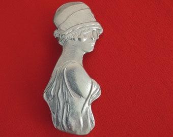 Flapper Girl Pin Vintage 1980s