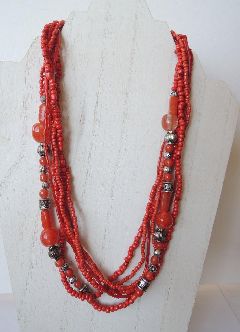 Red Multi Strand Boho Tribal Beaded Necklace Vintage 1960s