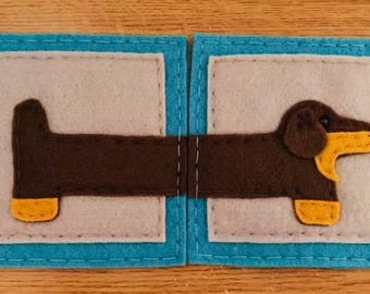 Dachshund felt coaster set of 2. Turquoise and grey.