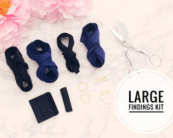 """Large Bra Findings Kit - Black Blue Navy - Perfect for an Underwired Bra with 3/4"""" Strap & Band Elastics and 3x3 Hook and Eye"""