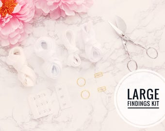 """Large Bra Findings Kit - White - Perfect for an Underwired Bra with 3/4"""" Strap & Band Elastics and 3x3 Hook and Eye"""