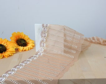 """8.25"""" Tan/Bisque Stripes & Floral Embroidered Tulle Edge Lace Non-Stretch (Left and Right Lace Available)"""
