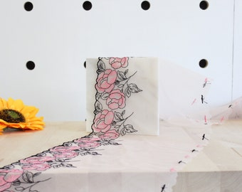 """1 YD of 9.25"""" Rose Pink/Flamingo/Black Floral Embroidered Tulle Lace Non-Stretch"""