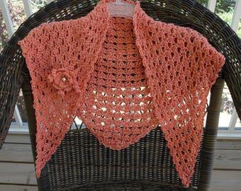 Silky Crochet Shawlette/Scarf with detachable Flower Pin
