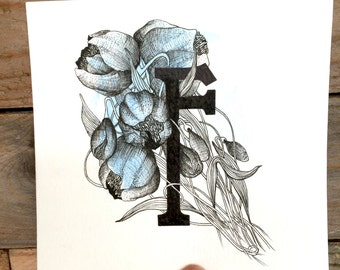 F' letter, original hand drawn, CAN BE CUSTOM made