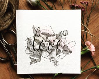 LOVE original drawing, beautiful hand drawn gift, can be custom made