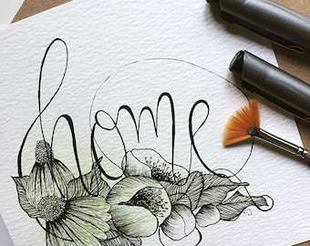 home-original drawing, hand drawn gift can be custom made