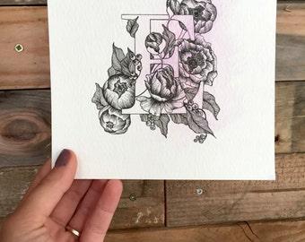 letter E, original hand drawn, postcard option-CUSTOM ORDER