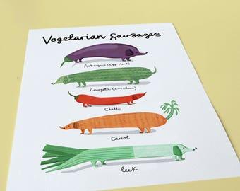 Vegan/Vegetarian Sausages - Vegan gift, Vegetarian Gift, Wall art, Dachshund, Sausage dog print, pun print, Dachshund gift, foodie print