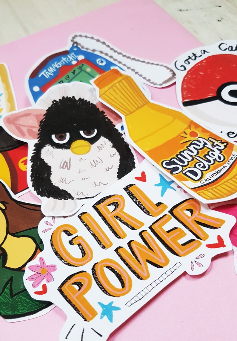 90's Stickers,90's,90's party,Nostalgia,1990's,Kawaii  stickers,UK,Scrapbooking,Nostalgic,journal,Fun Stickers,Scrap book  stickers,Furby