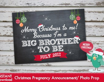merry christmas to me because im a big brother to be christmas pregnancy announcement christmas pregnancy photo prop july 2017 diy - Merry Christmas To Me