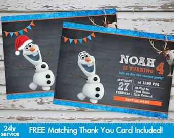 Olaf invitation etsy olaf frozen snowman birthday invitation olaf invitation printable snowman invitation winter invitation with free matching thank you card filmwisefo