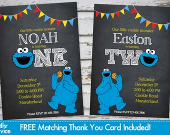 Cookie monster invitation etsy cookie monster birthday invitation cookie monster invitation cookie monster invite with free matching thank you card filmwisefo