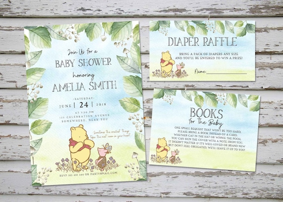It's just a picture of Printable Winnie the Pooh Baby Shower Invitations with old fashioned