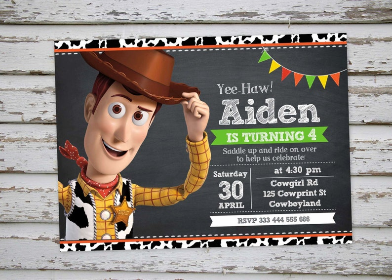 Woody Toy Story Cumpleanos Invitacion Fiesta Vaquero Etsy