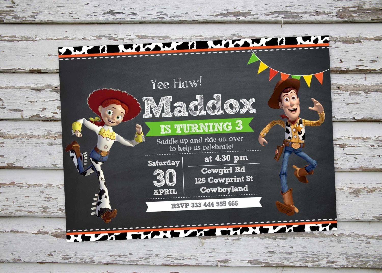 Woody Y Jessie De Toy Story Cumpleanos Invitacion Fiesta Etsy