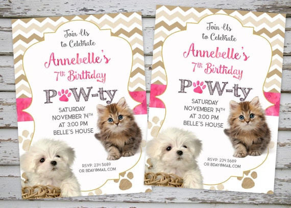 invitation anniversaire chiot chaton invitation party etsy. Black Bedroom Furniture Sets. Home Design Ideas