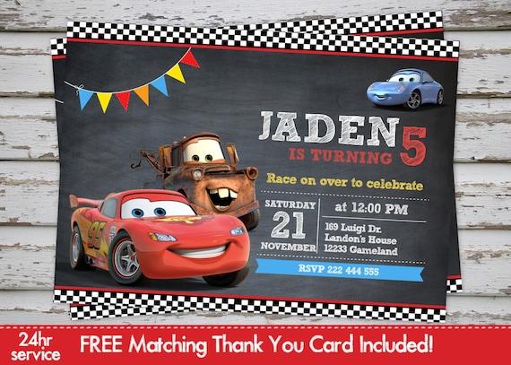 Coches Cars Disney Invitación Invitación Rayo Mcqueen Invita A Maters Invite Con Gratis Juego Gracias Tarjeta