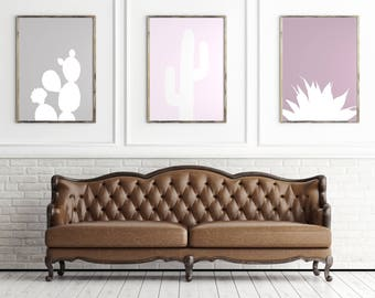 Pink Agave and Desert Cactus Silhouette Prints, pale pink southwestern desert cactus art, purple plant print, agave poster, printable art