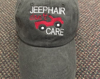 Jeep Hair Don't Care hat  (full body jeep)