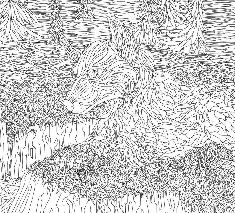 Printeable Lineart Wolf Erwachsenen Färbung Seite Anime Wolf Tier Ausmalbild Wolf Stufe Digitale Zeichnung Altersspuren Clipart Pelzigen Hund
