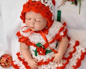 Baby Christmas dress, Baby Christmas Outfit, Christmas Dress baby Girl, Newborn Christmas Dress, Red Baby Dress, Red Baby Girl Dress
