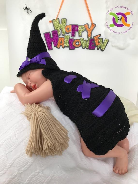 Halloween-Baby-Kostüm Hexe Halloween-Kostüm Hexenhut häkeln | Etsy