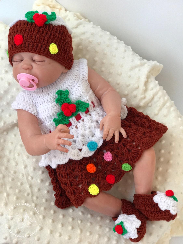 Christmas Pudding Baby Outfit.Crochet Baby Pattern Baby Crochet Pattern Baby Dress Crochet Pattern Crochet Baby Dress Pattern Baby Shower Gift Baby Christmas Dress