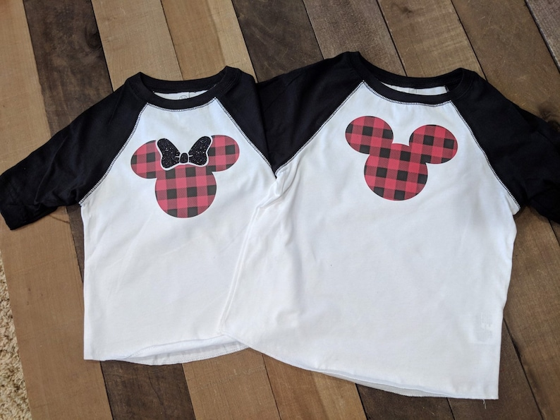 DISNEY CHRISTMAS SHIRTS buffalo plaid mickey ears buffalo image 0
