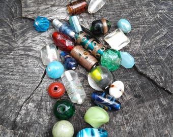 Mixed Glass Beads,  Glass Bead lot, Assorted Glass Beads,  25 beads total in this set