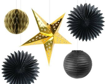Black & Gold Paper lantern Honeycomb star decoration kit | Buffet table decor | Party backdrop |