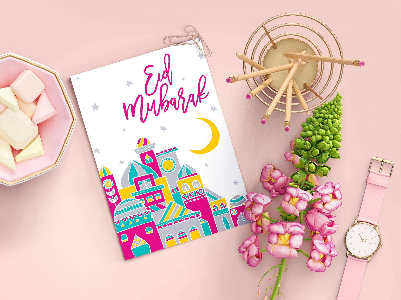 Eid Mubarak Card Eid Greeting Card Eid Card Islamic Greeting Card Muslim Holiday Card Islamic Greeting Card Eid Gift Modern Eid Card