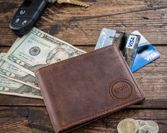 Personalized Mens Leather Wallet - Groomsmen Gifts - Leather Bi-Fold Wallet - Husband Anniversary Gift - Birthday Gift for Him
